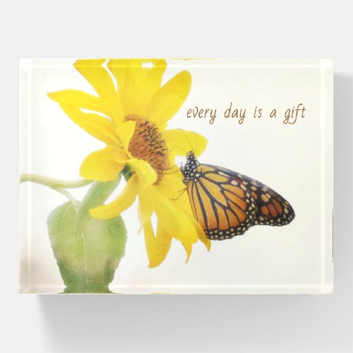 Monarch Butterfly on Yellow Sunflower Uplifting Paperweight