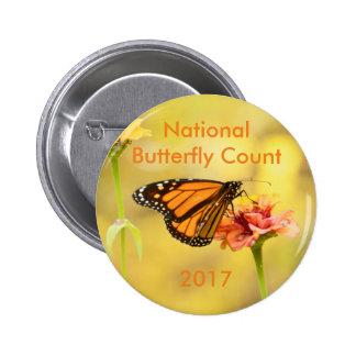 Monarch Butterfly on Zinnia Button