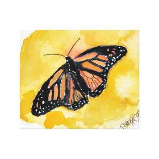 monarch butterfly orange background watercolor art canvas print