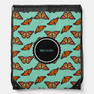 Monarch Butterfly Pattern Drawstring Backpack