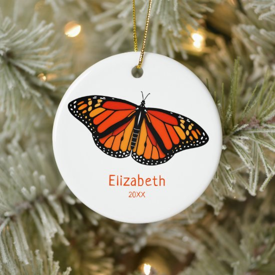Monarch butterfly personalized ceramic ornament
