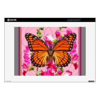 Monarch Butterfly Pink-Grey Floral Gifts  Sharles Laptop Skin