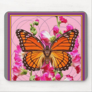 Monarch Butterfly Pink-Grey Floral Gifts  Sharles Mouse Pad