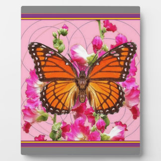 Monarch Butterfly Pink-Grey Floral Gifts  Sharles Plaque