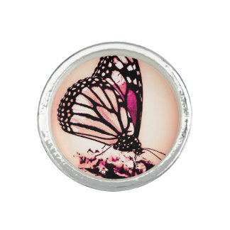 Monarch Butterfly, Pink Photo Rings