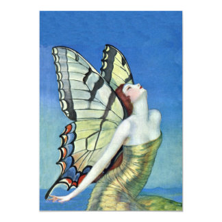 Monarch Butterfly Red Hair Vintage Fairy Birthday Card