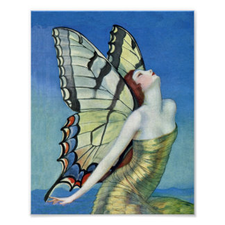 Monarch Butterfly Red Hair Vintage Fairy Poster