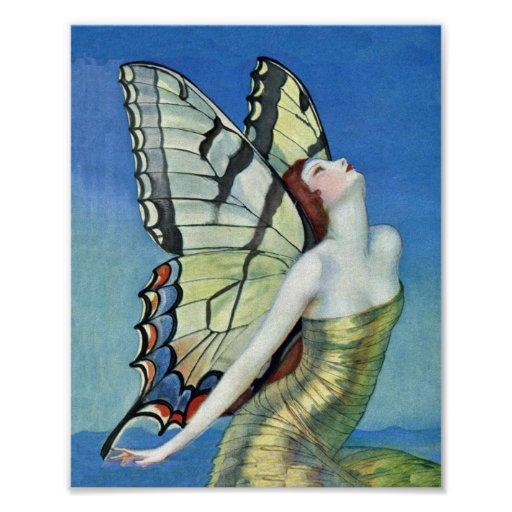 Monarch Butterfly Red Hair Vintage Fairy Posters