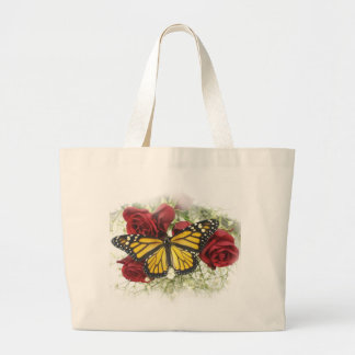 Monarch Butterfly Red Rose Tote Bag