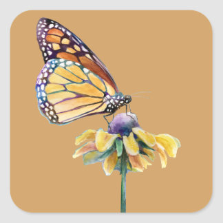 Monarch Butterfly rests on a flower Square Sticker