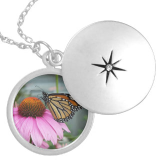 Monarch Butterfly Round Locket Necklace