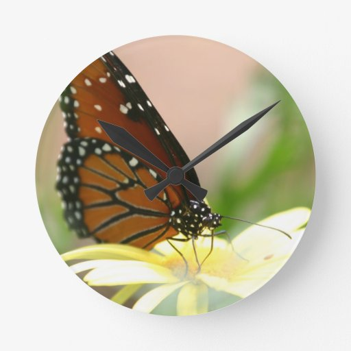 Monarch Butterfly Round Wall Clock