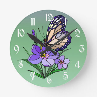 Monarch Butterfly Round Wall Clocks