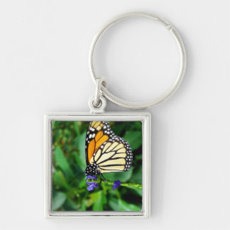 Monarch Butterfly Silver-Colored Square Keychain