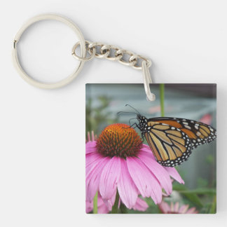 Monarch Butterfly Single-Sided Square Acrylic Keychain