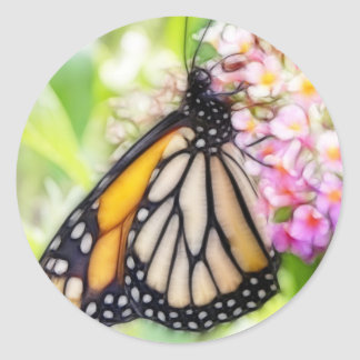 Monarch Butterfly Sipping Nectar Classic Round Sticker