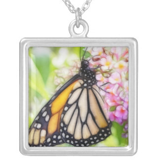 Monarch Butterfly Sipping Nectar Square Pendant Necklace