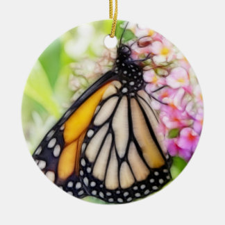 Monarch Butterfly Sipping Nectar Double-Sided Ceramic Round Christmas Ornament