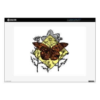 "Monarch Butterfly Sketch - Color 15"" Laptop Skin"