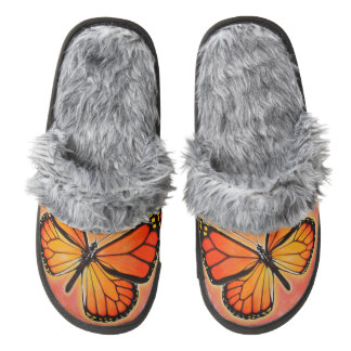 Monarch Butterfly slippers!! Pair Of Fuzzy Slippers