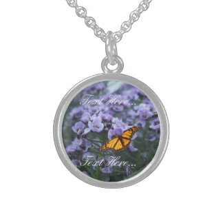 Monarch Butterfly Sterling Silver Round Necklace