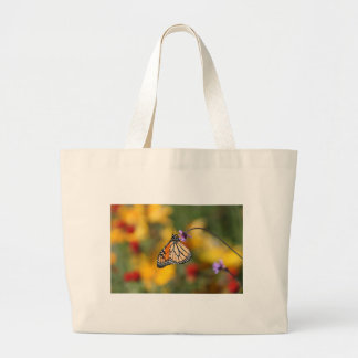Monarch Butterfly Stops for Pollen Large Tote Bag