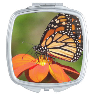 Monarch Butterfly Sunflower Flower Floral Compact Compact Mirror