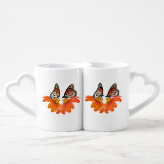 Monarch Butterfly Sunflower Flowers Floral Couple Couples Coffee Mug