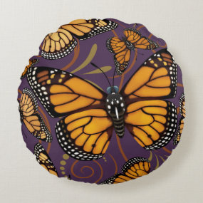 Monarch Butterfly Round Pillow