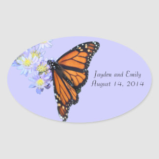 Monarch Butterfly Wedding Date Sticker