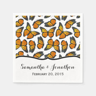 Monarch Butterfly Wedding Paper Napkin