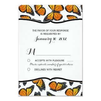 Monarch Butterfly Wedding RSVP Card