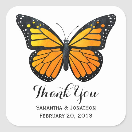 Monarch Butterfly Wedding Thank You Square Sticker Zazzle