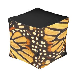 Monarch Butterfly Wing Abstract Cube Pouf