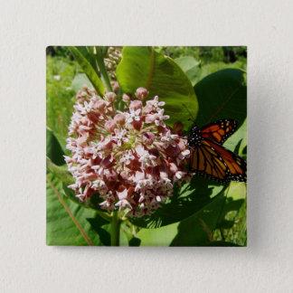 Monarch Butterfly Wings Open on Milkweed Photo Button