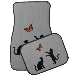 Monarch Butterfly With Cat Silhouettes Car Floor Mat