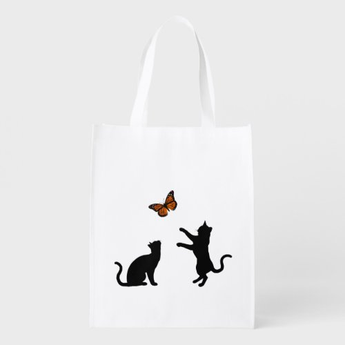 Monarch Butterfly With Cat Silhouettes Grocery Bag