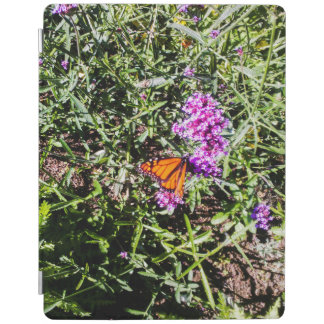 monarch butterfly with purple prairie flowers iPad cover