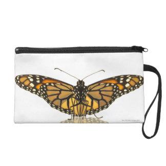 Monarch butterfly with wings spread wristlet purse