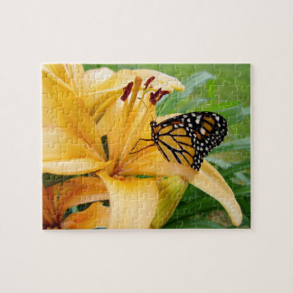 Monarch Butterfly Yellow Lily Flower Photo Jigsaw Puzzle