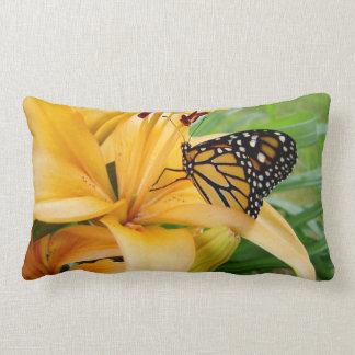 Monarch Butterfly Yellow Lily Flower Photo Lumbar Pillow