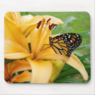 Monarch Butterfly Yellow Lily Flower Photo Mouse Pads