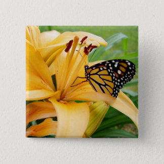 Monarch Butterfly Yellow Lily Flower Photo Pinback Button