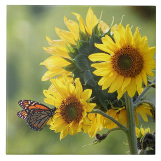 Monarch Butterfly Yellow Sunflowers Tile