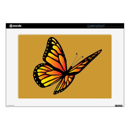 "Monarch butterfly Zazzle Skin Decals For 15"" Laptops"