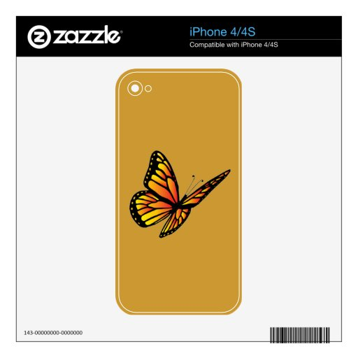 Monarch butterfly Zazzle Skin Decals For iPhone 4