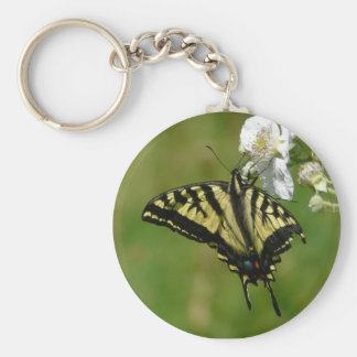 Monarch Butterly on Blackberry Blossoms Basic Round Button Keychain