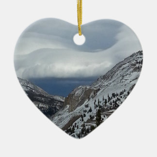 Monarch, CO Rocky Mountains Winter Time Clouds Double-Sided Heart Ceramic Christmas Ornament