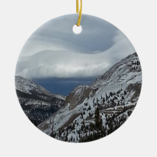 Monarch, CO Rocky Mountains Winter Time Clouds Double-Sided Ceramic Round Christmas Ornament