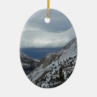 Monarch, CO Rocky Mountains Winter Time Clouds Double-Sided Oval Ceramic Christmas Ornament